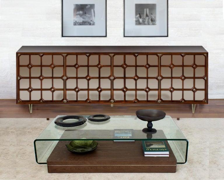 Brazilian Nina Credenza Natural Wood Handmade Details Bronze Mirror 240 For Sale