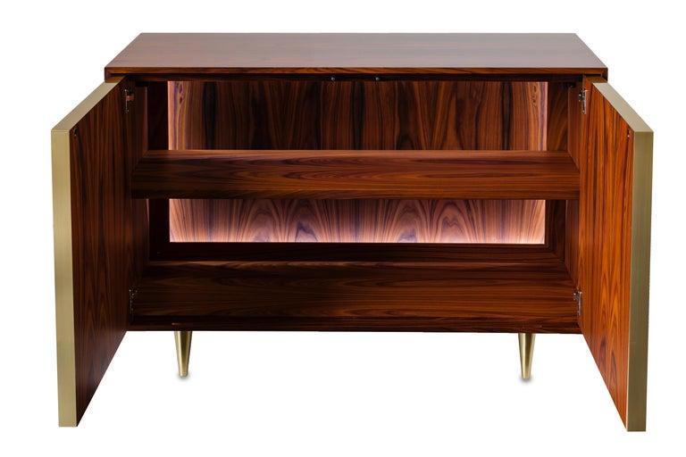 Modern Nina Credenza Natural Wood Handmade Sophisticated Details 120 For Sale