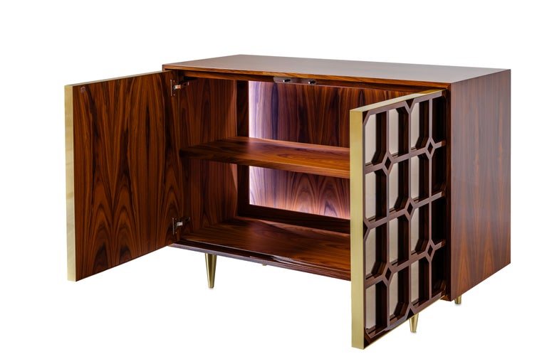 South American Nina Credenza Natural Wood Handmade Sophisticated Details 120 For Sale