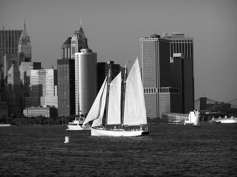 Nina Kraus Black and White Photograph - Sailing Around Manhattan New York Photograph