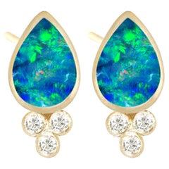 Nina Nguyen Opal Doublet 18 Karat Gold Stud Earrings Bezel-Set