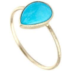 Nina Nguyen Sleeping Beauty Turquoise 18 Karat Gold Ring Bezel-Set