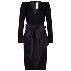 Nina Ricci 1980s Black Wool and Silk Cocktail Dress