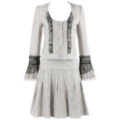 NINA RICCI 2 Pc Gray Black Lace Silk Tweed Dress Jacket Pleated Skirt Suit Set