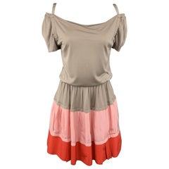 NINA RICCI 2 Taupe Off Shoulder Red & Pink A Line Skirt Dress