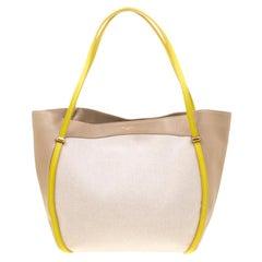 Nina Ricci Beige/Green Leather and Canvas Shopper Tote