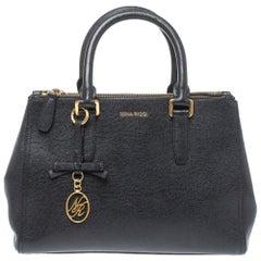 Nina Ricci Black Leather Double Zip Tote
