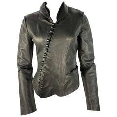 Nina Ricci Black Leather Jacket, Size 36