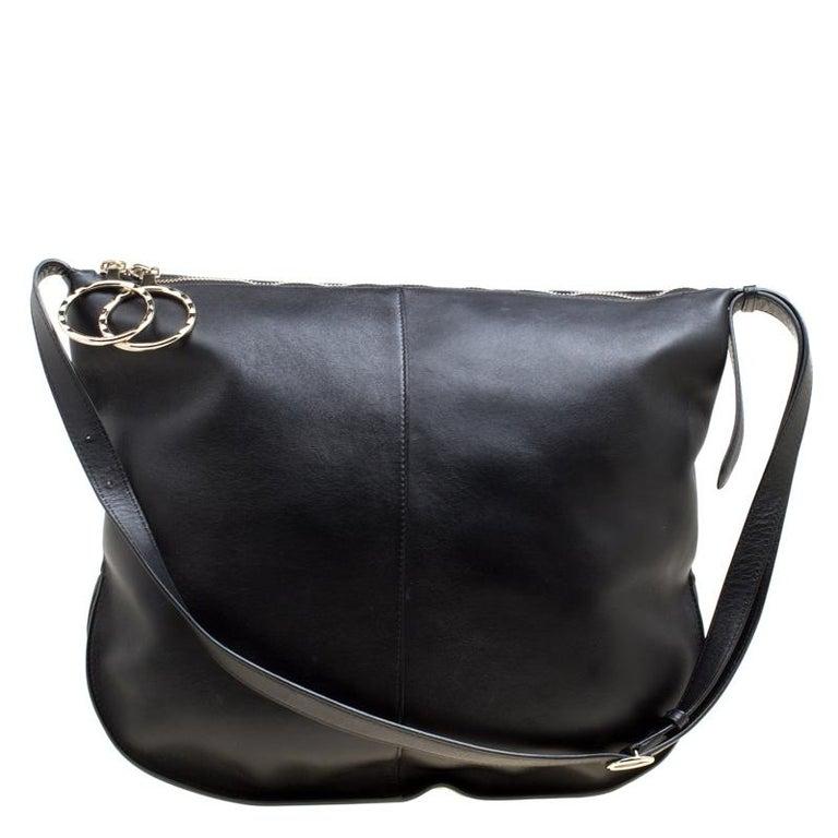 7a90e53bcb ... PursesShoulder Bags. Nina Ricci Black Leather Large Kuti Hobo For Sale