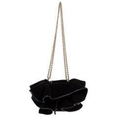 Nina Ricci Black Ruffle Suede Lily Ruched Drawstring Shoulder Bag