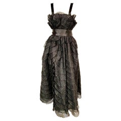Nina Ricci Black Silk Evening Dress with Embroidered Organza Petals Never Worn