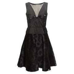 Nina Ricci Black Sleeveless Floral Patterned Dress