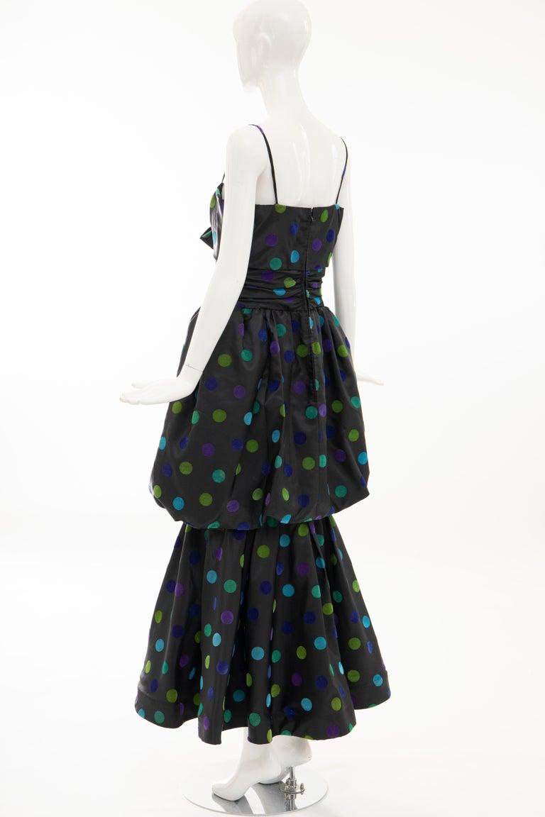 Nina Ricci Black Taffeta Velveteen Polka Dots Evening Dress, Circa: 1980s For Sale 6