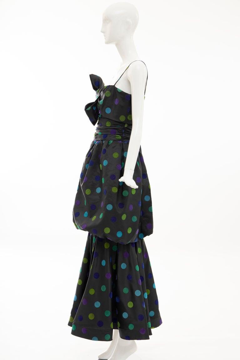 Nina Ricci Black Taffeta Velveteen Polka Dots Evening Dress, Circa: 1980s For Sale 7