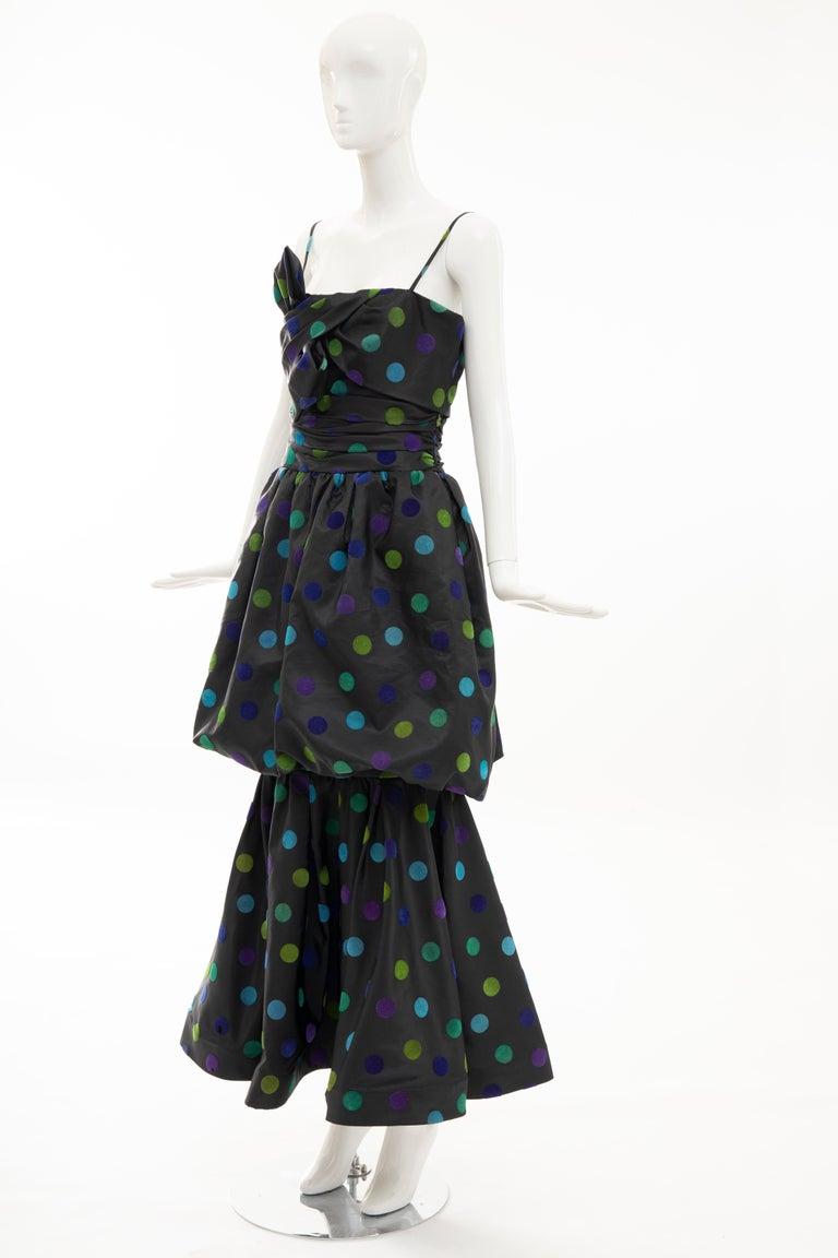 Nina Ricci Black Taffeta Velveteen Polka Dots Evening Dress, Circa: 1980s For Sale 8