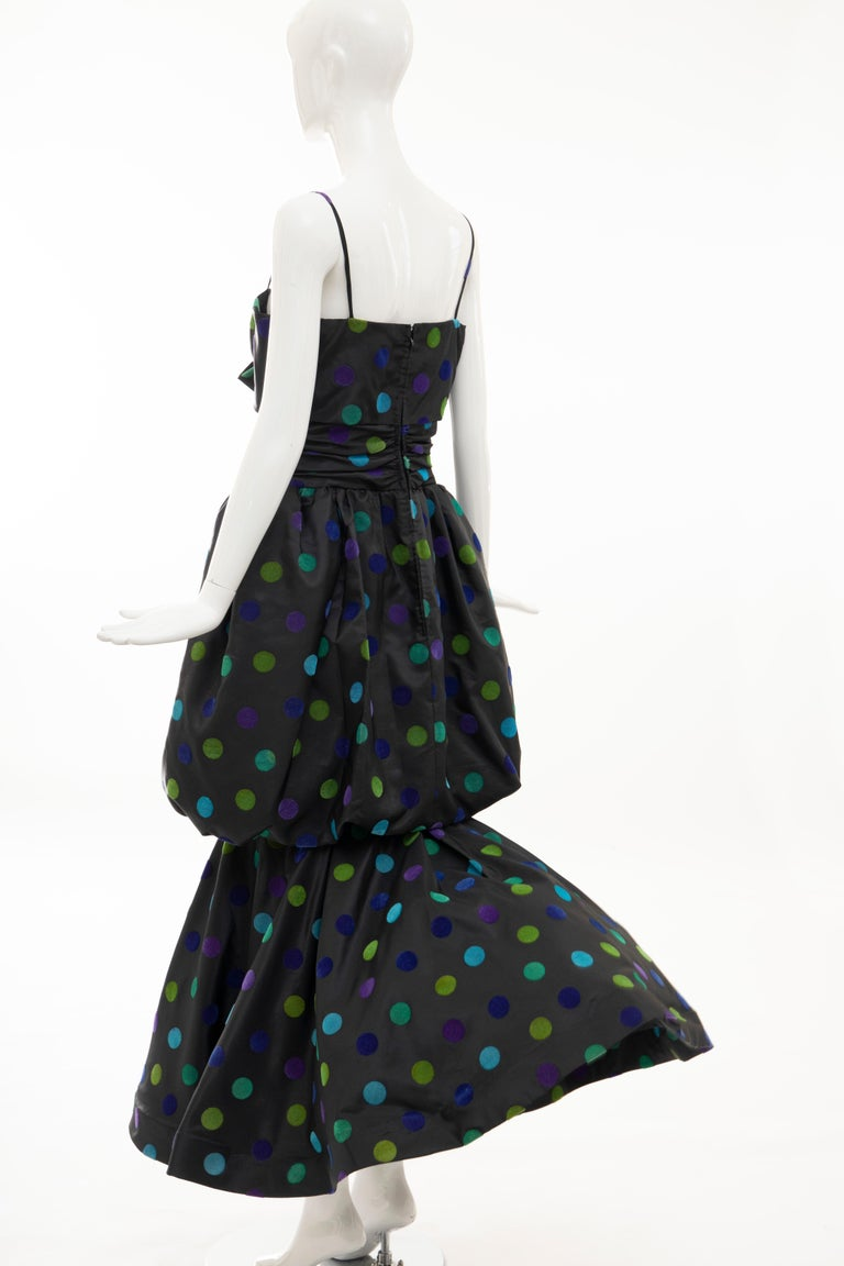 Nina Ricci Black Taffeta Velveteen Polka Dots Evening Dress, Circa: 1980s For Sale 9