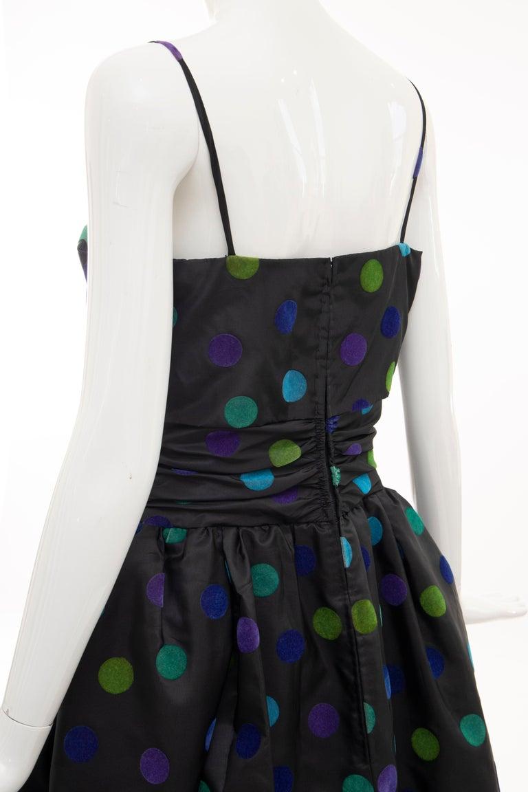 Nina Ricci Black Taffeta Velveteen Polka Dots Evening Dress, Circa: 1980s For Sale 10