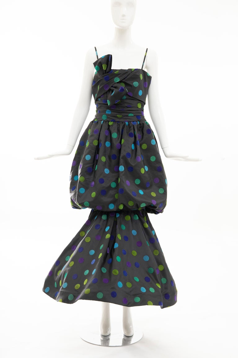 Nina Ricci, Circa: 1980's bow front spaghetti strap taffeta velveteen dots evening dress with shirred waist, trumpet skirt with back zip and hook-and-eye and fully lined in silk.  EU.44, US. 8  Bust: 28, Waist: 30, Hips: 54, Length: 57