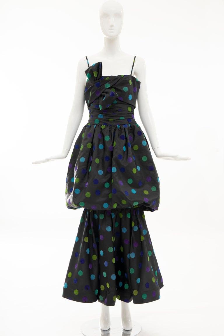 Nina Ricci Black Taffeta Velveteen Polka Dots Evening Dress, Circa: 1980s In Excellent Condition For Sale In Cincinnati, OH