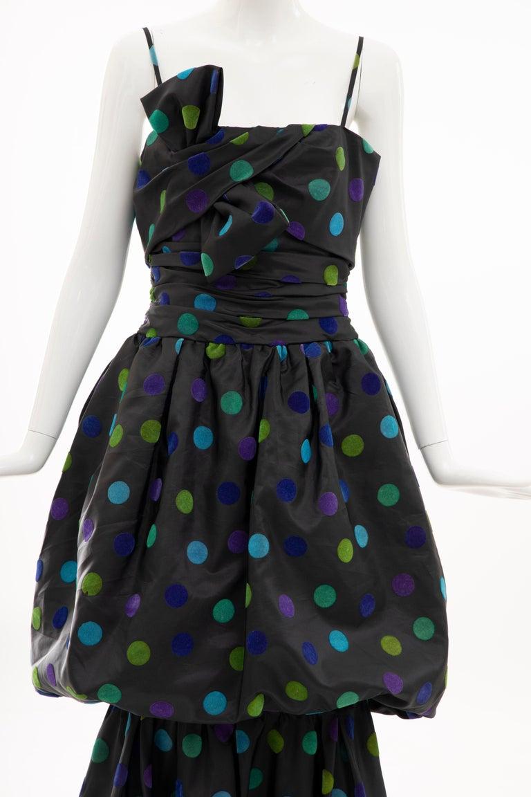 Women's Nina Ricci Black Taffeta Velveteen Polka Dots Evening Dress, Circa: 1980s For Sale