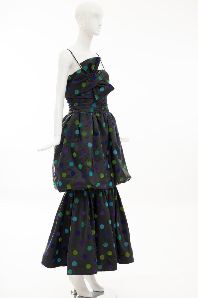 Nina Ricci Black Taffeta Velveteen Polka Dots Evening Dress, Circa: 1980s For Sale 1