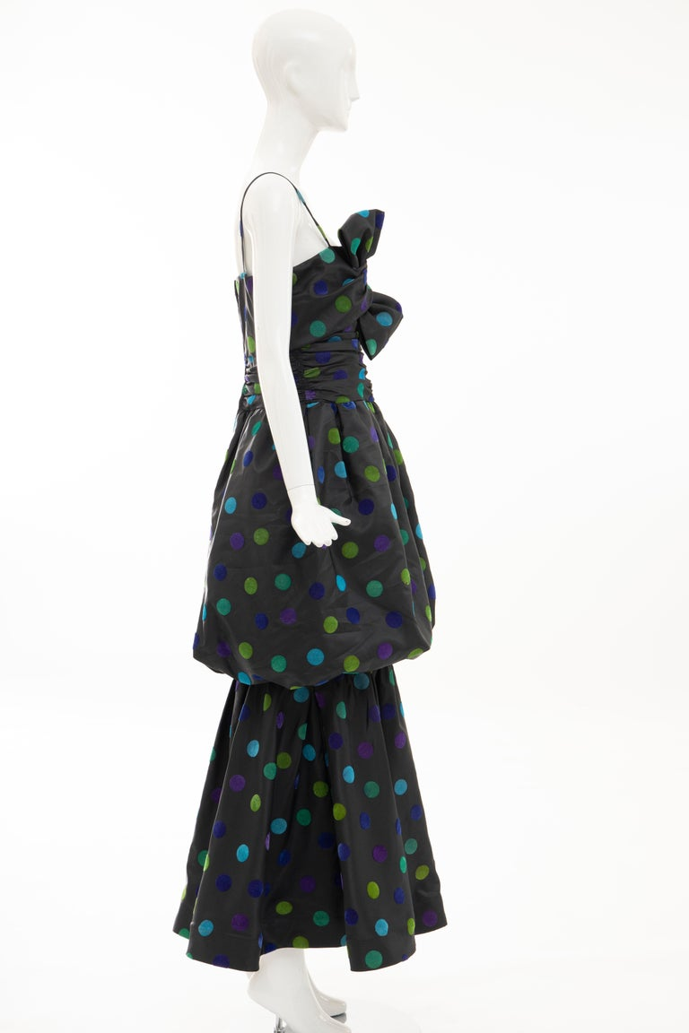 Nina Ricci Black Taffeta Velveteen Polka Dots Evening Dress, Circa: 1980s For Sale 2