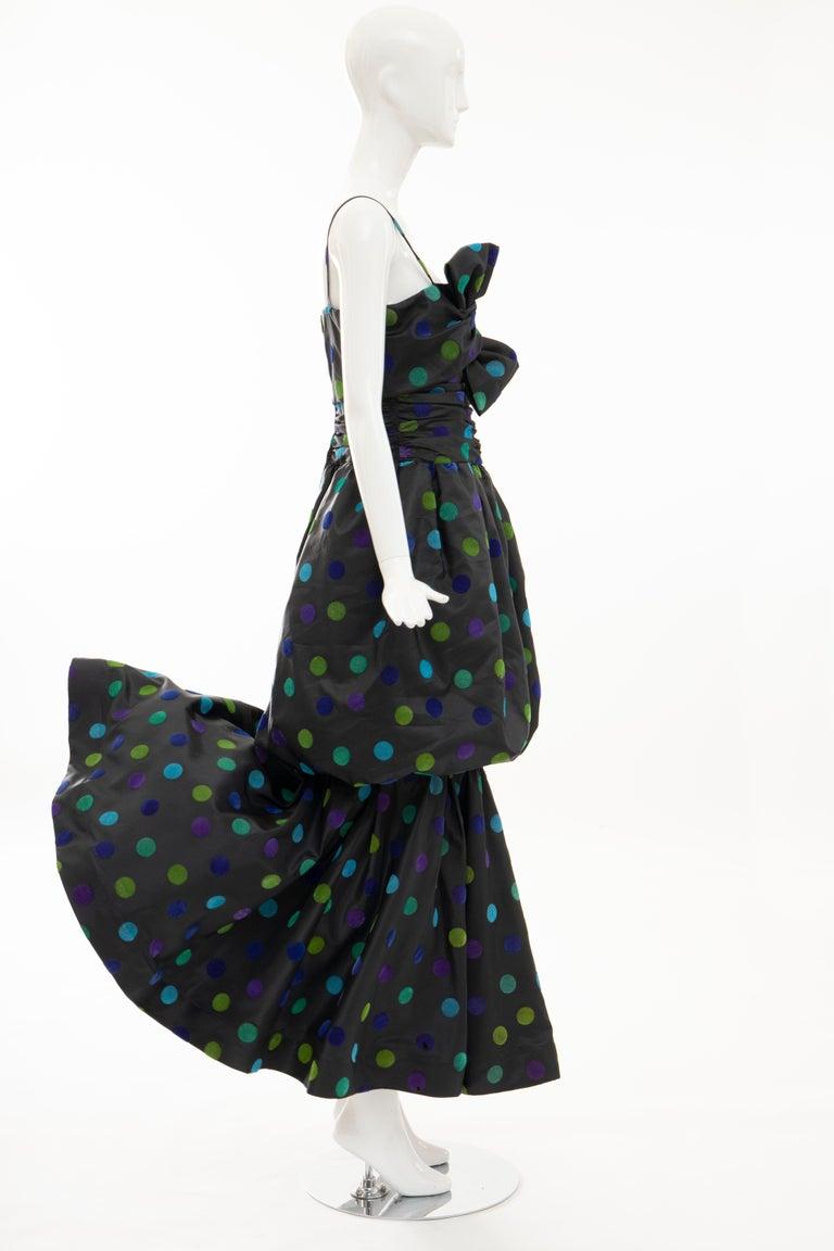 Nina Ricci Black Taffeta Velveteen Polka Dots Evening Dress, Circa: 1980s For Sale 3