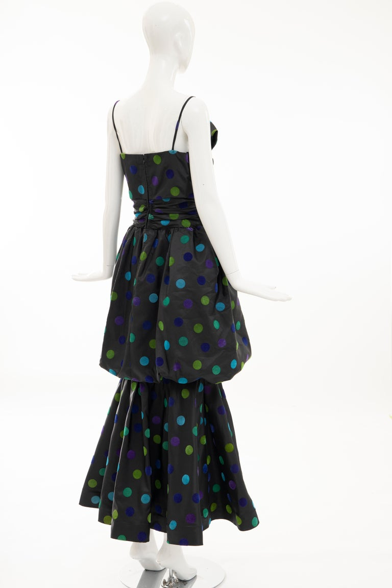 Nina Ricci Black Taffeta Velveteen Polka Dots Evening Dress, Circa: 1980s For Sale 4