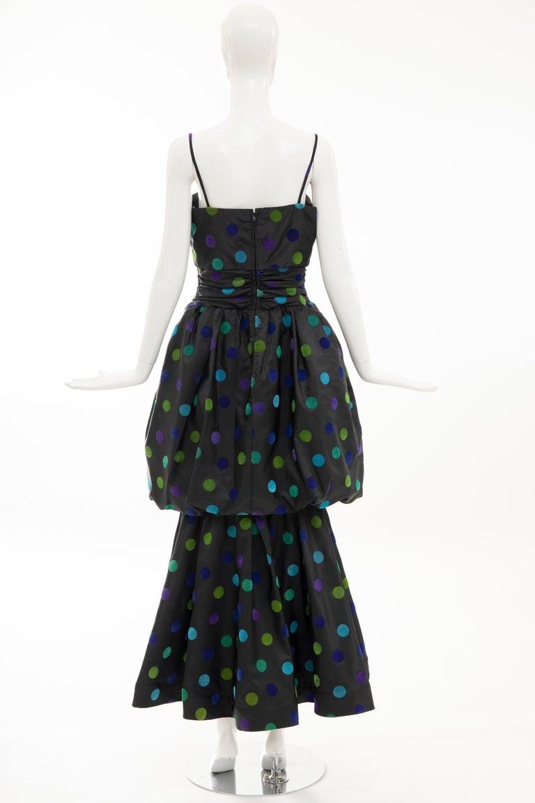 Nina Ricci Black Taffeta Velveteen Polka Dots Evening Dress, Circa: 1980s For Sale 5