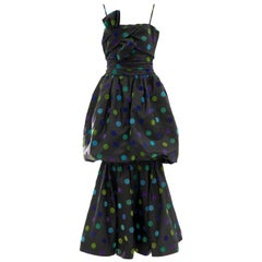 Nina Ricci Black Taffeta Velveteen Polka Dots Evening Dress, Circa: 1980s