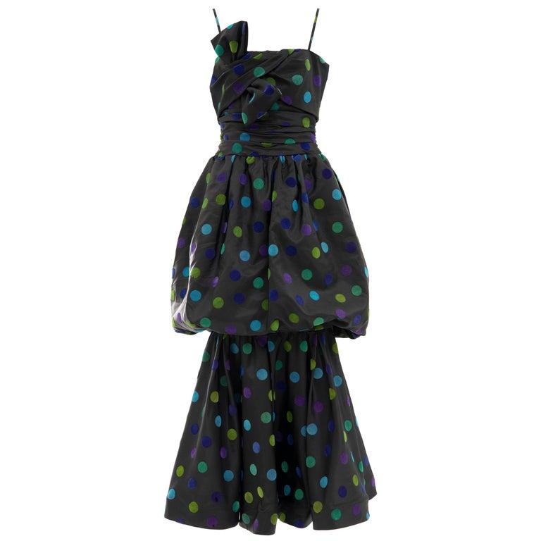 Nina Ricci Black Taffeta Velveteen Polka Dots Evening Dress, Circa: 1980s For Sale