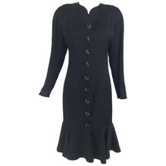 Nina Ricci Black Wool Semi Fitted Dress with Flared Hem 1980s