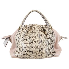 Nina Ricci Blush/Ivory Leather Handle Bag with Python & Crossbody Strap