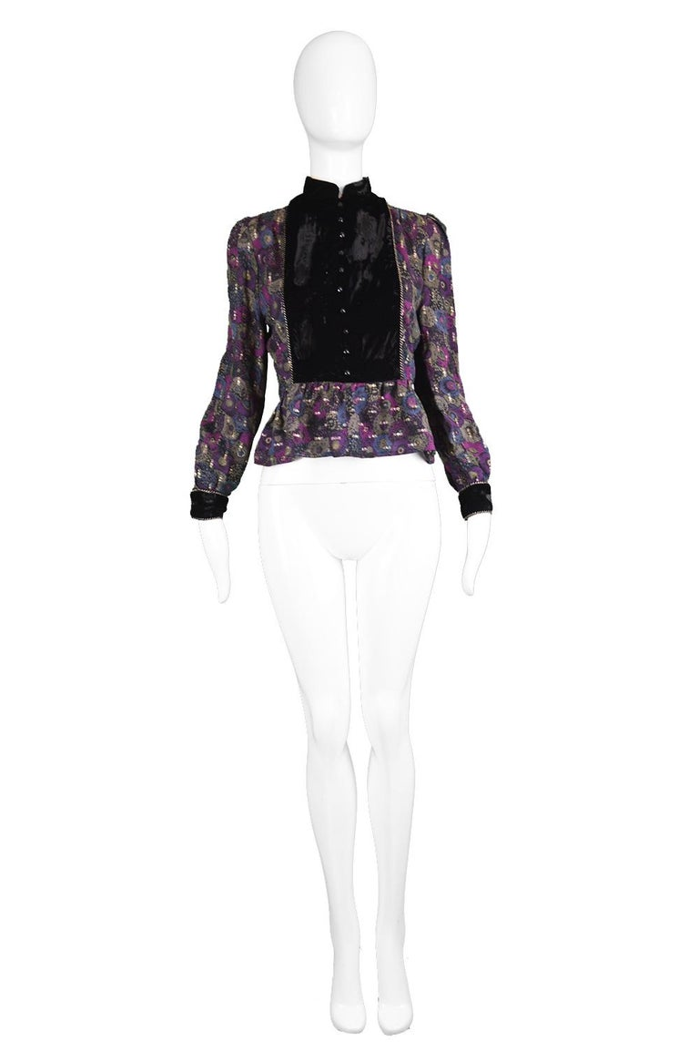 "Nina Ricci Boutique Vintage Women's Silk Velvet, Wool & Lamé Shirt, 1970s  Estimated Size: fits roughly like a UK 12/ US 8/ EU 40. Please check all measurements below by clicking 'CONTINUE READING' Bust - 36"" / 91cm Waist - 30"" / 76cm Length"