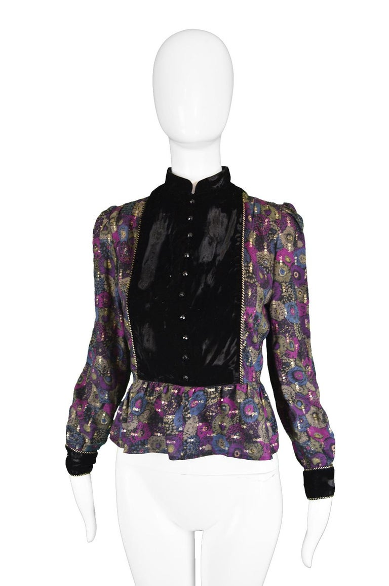 Black Nina Ricci Boutique Vintage Women's Silk Velvet, Wool & Lamé Shirt Blouse, 1970s For Sale
