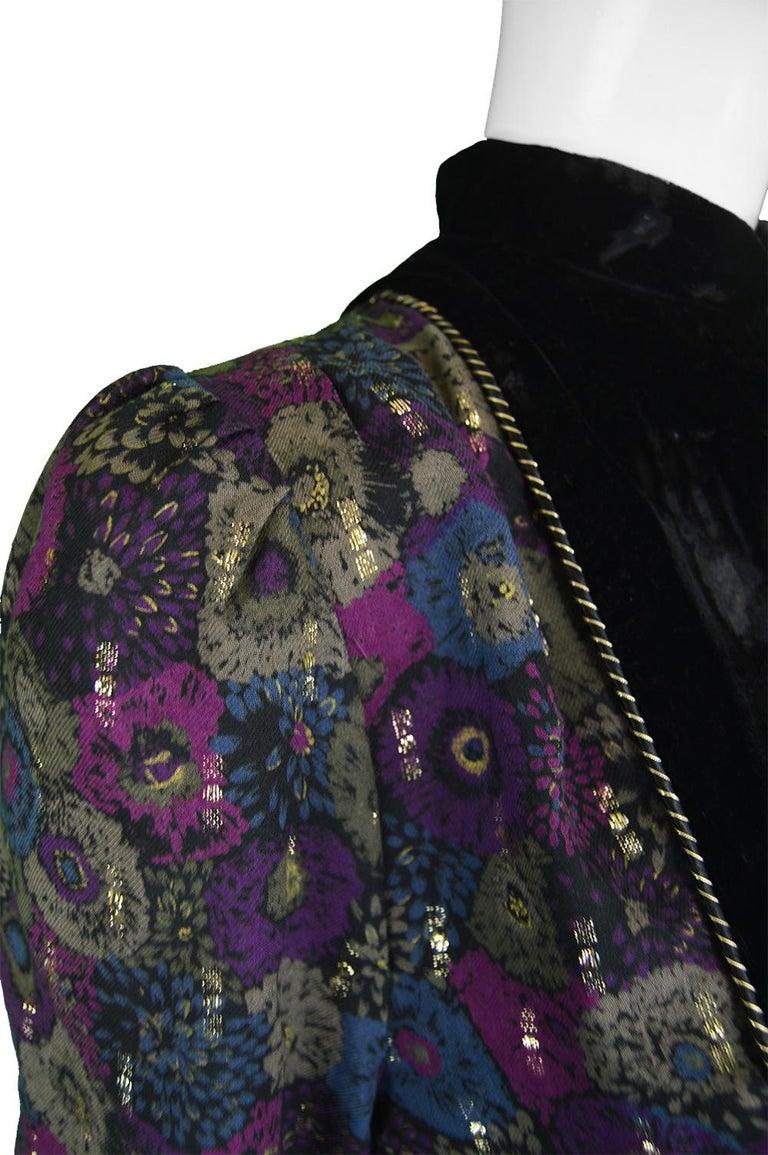 Nina Ricci Boutique Vintage Women's Silk Velvet, Wool & Lamé Shirt Blouse, 1970s In Excellent Condition For Sale In Doncaster, South Yorkshire
