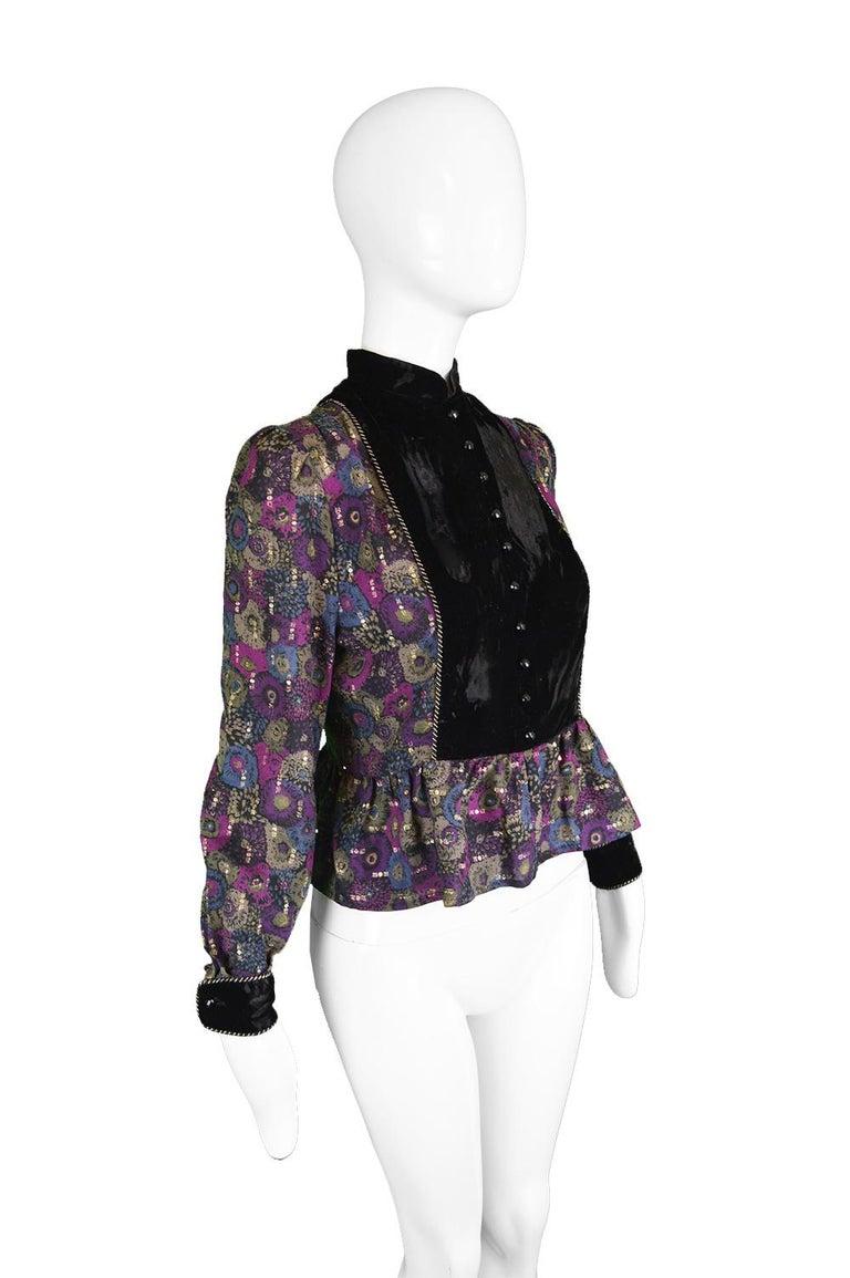 Nina Ricci Boutique Vintage Women's Silk Velvet, Wool & Lamé Shirt Blouse, 1970s For Sale 1