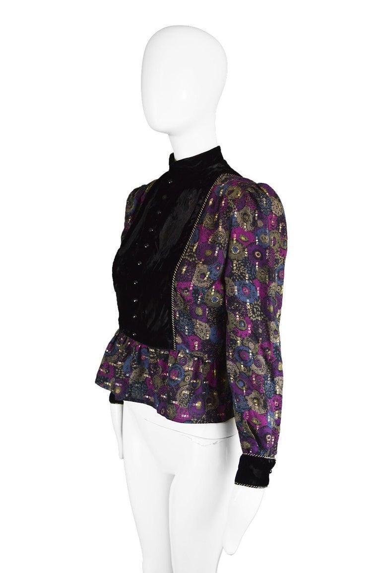 Nina Ricci Boutique Vintage Women's Silk Velvet, Wool & Lamé Shirt Blouse, 1970s For Sale 2
