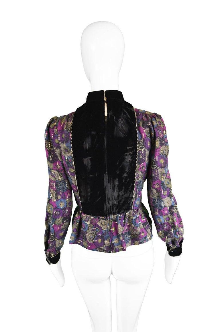 Nina Ricci Boutique Vintage Women's Silk Velvet, Wool & Lamé Shirt Blouse, 1970s For Sale 3