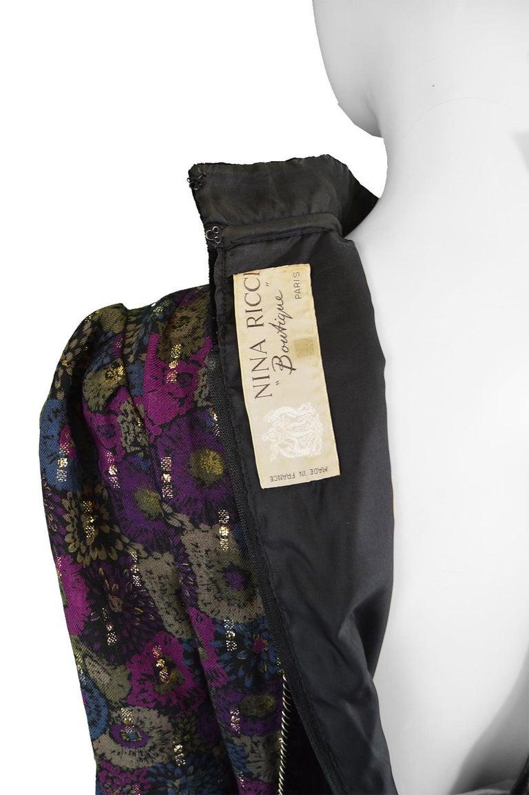 Nina Ricci Boutique Vintage Women's Silk Velvet, Wool & Lamé Shirt Blouse, 1970s For Sale 4