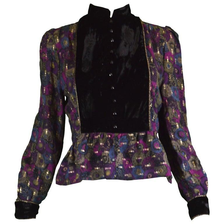 Nina Ricci Boutique Vintage Women's Silk Velvet, Wool & Lamé Shirt Blouse, 1970s For Sale