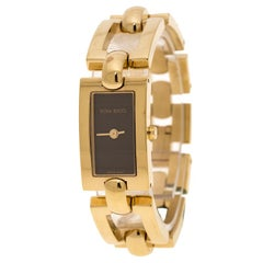Nina Ricci Brown Dial Gold Plated Stainless Steel Women's Wristwatch 16 mm