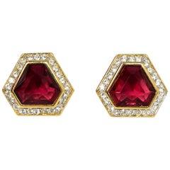 Nina Ricci Burgundy Clip On Earrings W/ Crystals