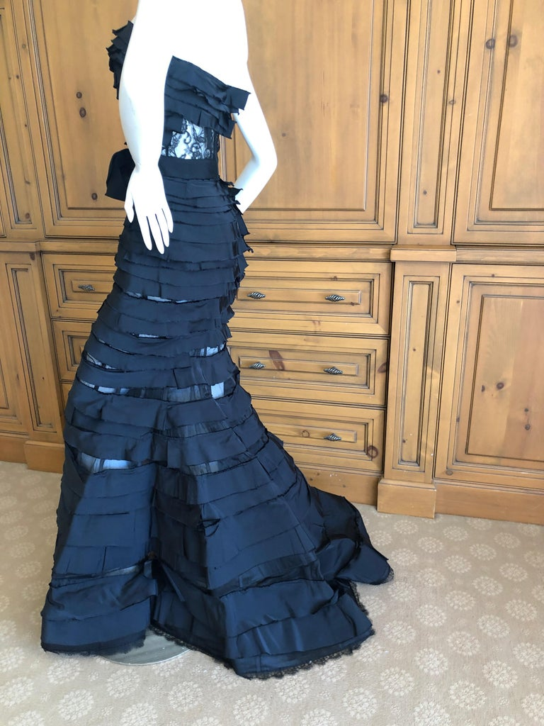 Nina Ricci by Olivier Theyskens Important Black Silk Mermaid Evening Gown Sz 36 In Excellent Condition For Sale In San Francisco, CA