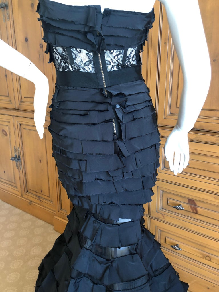 Women's Nina Ricci by Olivier Theyskens Important Black Silk Mermaid Evening Gown Sz 36 For Sale