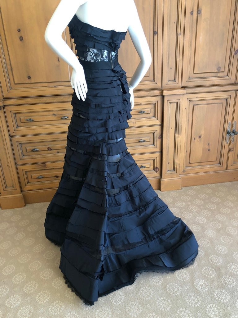 Nina Ricci by Olivier Theyskens Important Black Silk Mermaid Evening Gown Sz 36 For Sale 1