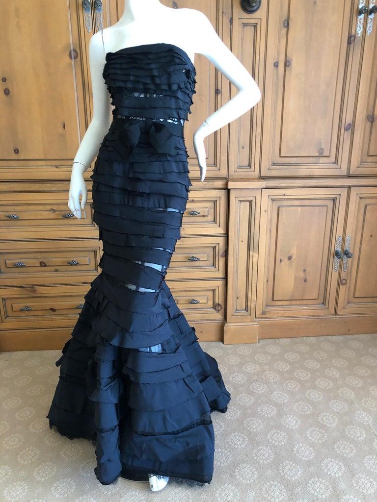 Nina Ricci by Olivier Theyskens Important Black Silk Mermaid Evening Gown Sz 36 For Sale 2