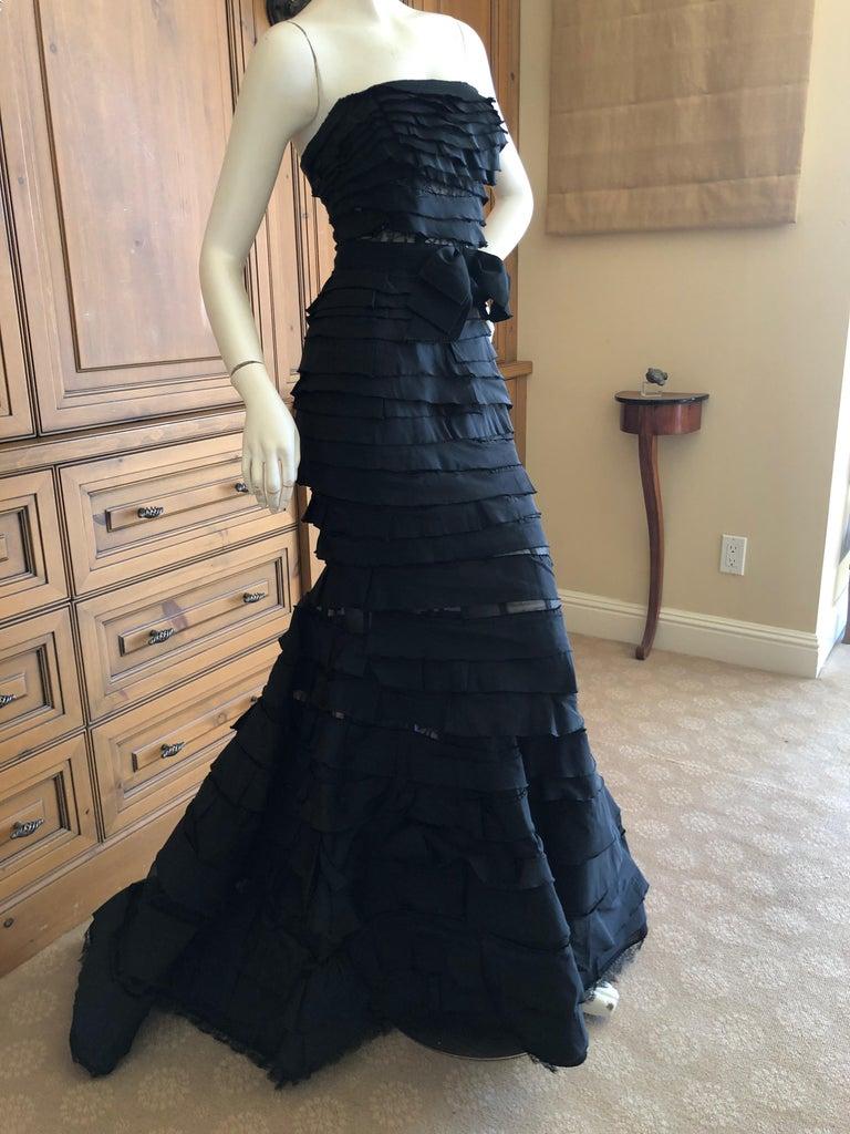 Nina Ricci by Olivier Theyskens Important Black Silk Mermaid Evening Gown Sz 36 For Sale 3