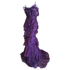 Nina Ricci by Peter Copping 1991 Tiered Polka Dot Ruffle Evening Dress w Train