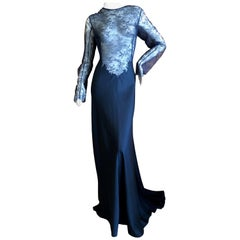 Nina Ricci by Peter Copping Navy Blue Sheer Lace Evening Dress with Train